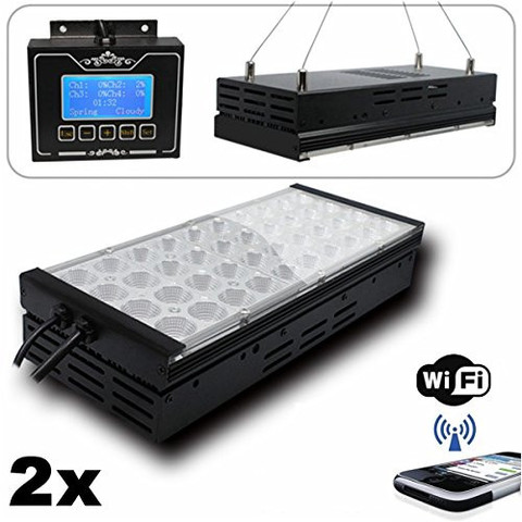 M2CBRIDGE 2X PROGRAMMABLE LED AQUARIUM LIGHT FOR SALTWATER CORAL MARINE FISH TANKS WITH WIFI CONTROL