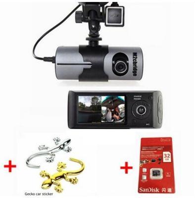"""M2CBridge Dash Cam 2.7"""" LCD HD Dual Cam Car DVR Black Box w/ GPS Tracker + G-Sensor + 32GB"""